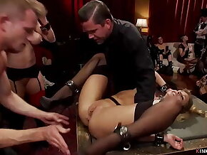 Bound sluts anal fucked at party