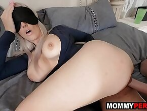 Blindfolded mom tricked to fuck her own step son
